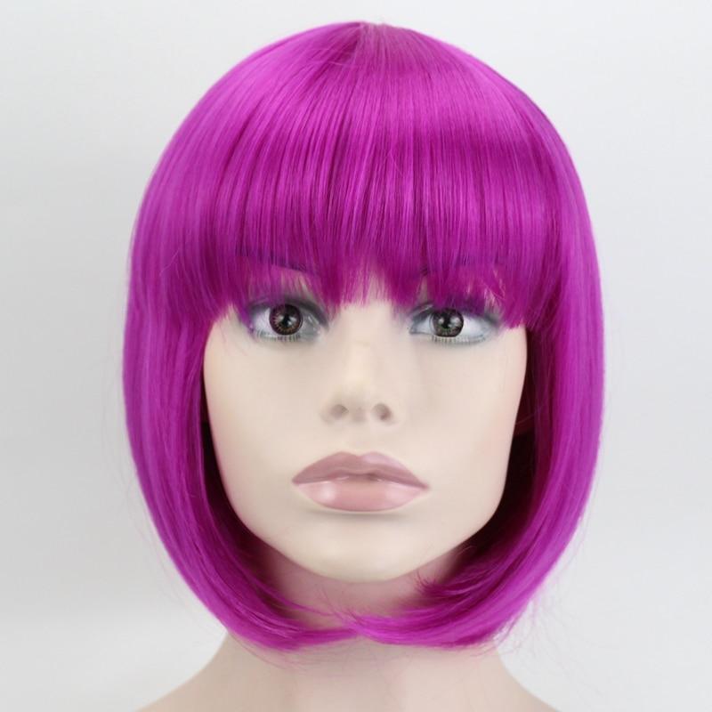 RADOŚĆ I URODA 9 Kolory Czerwony Różowy Biały Krótki Curly Bob włosy syntetyczne Cosplay Peruka Dla kobiet Włókno termoodporne Codzienne pełne włosy