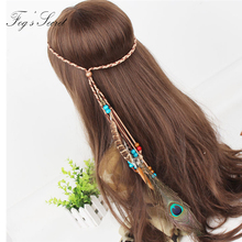 Female Hairband Feather Long Indian style Gypsy Bohemian Made For Peacock hair Wooden bead Beach Party Model Performance цены