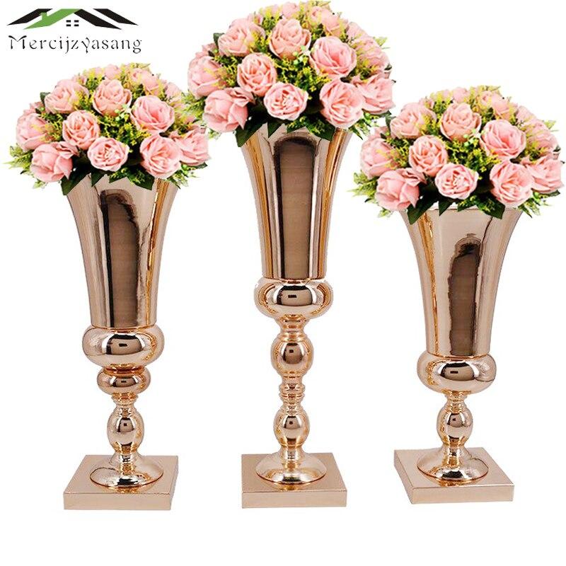 Flores vasos mesa peça central vaso metal ouro tabletop estrada tipo chumbo flor suporte para casa/decoração do casamento melhor presente g031