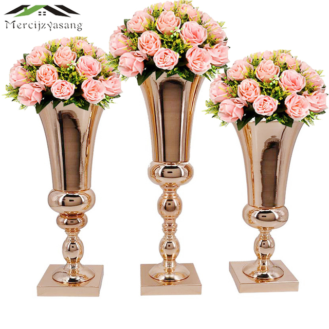 Flowers Vases Table Centerpiece Vase Metal Gold Tabletop Road Lead