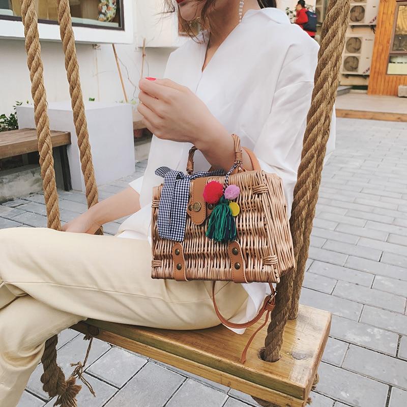 Women's Hand woven handbag Bamboo vine+PU Shoulder Bags Messenger Bags travel Storage storage box Detachable shoulder strap