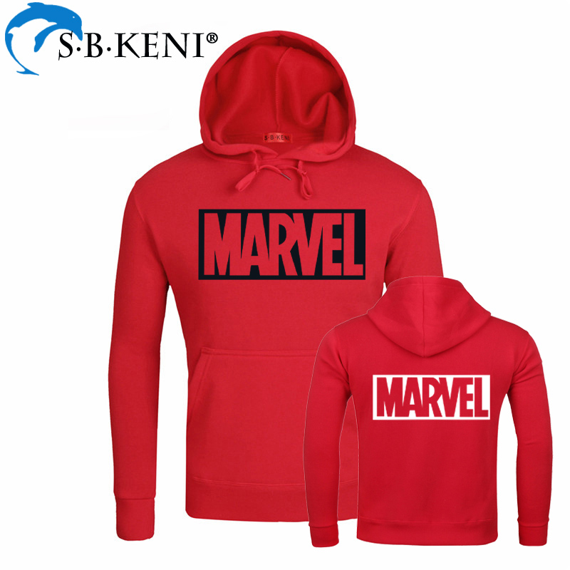 logo Brand Sweatshirts Men High Quality MARVEL letter Round Neck Hoodies Comic Letter Printed Kpop Casual red Fashion Hoodie