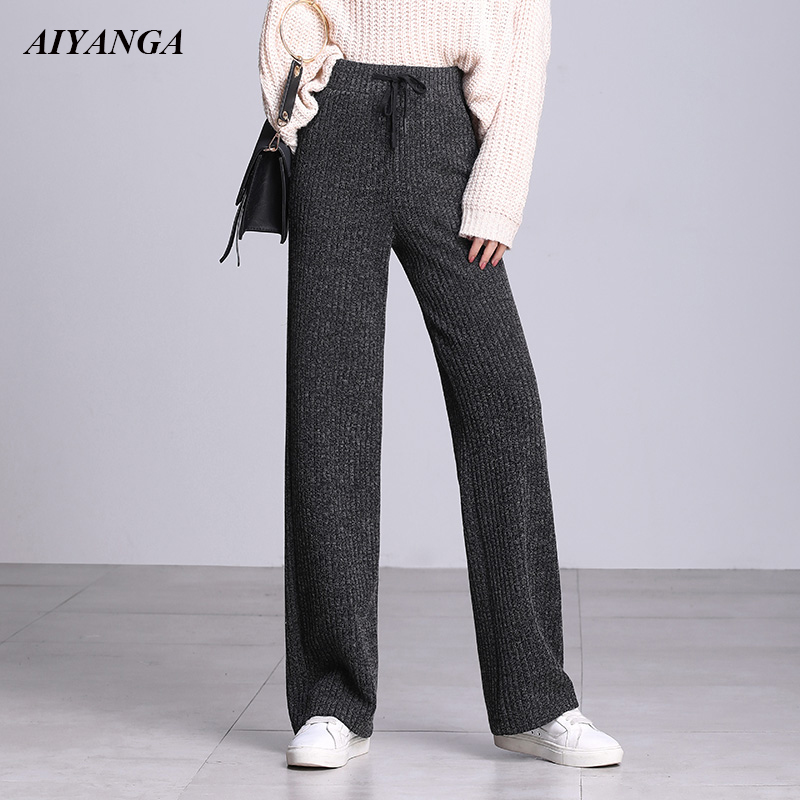 Thicken Knitted Pants Female Warm Pants For Women Winter 2018 High Waist Wide Leg Trousers Women Woolen Pant Knit Plus Size