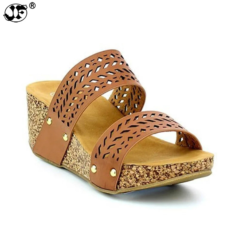 Summer Female Slippers Women Shoes Wedge Heels Platform Shoes Ladies Fashion Concise Shoes Plus Size 42 43 concise platform and bow design slippers for women