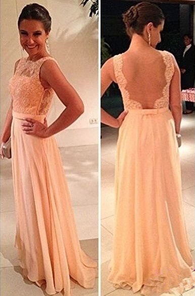 Peach 2019 Cheap Bridesmaid Dresses Under 50 A-line Chiffon Lace See Through Long Wedding Party Dresses For Women