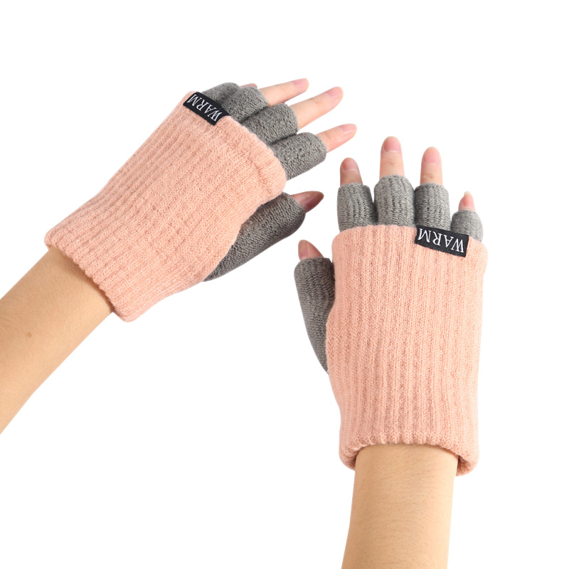 winter gloves women ladies half finger gloves Fingerless patchwork thicken double lined winter warm gloves mittens for gift