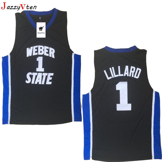 best sneakers 71c51 63581 New Cheap Weber State #1 Damian Lillard Jersey Throwback College Basketball  Jersey Vintage Retro Basket Shirts For Men Stitched-in Basketball Jerseys  ...
