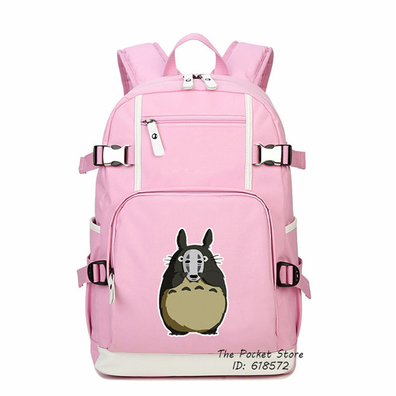 Kawaii Totoro Bags 2018 High Quality My Neighbor Totoro No Face Mask Printing Backpack Canvas School Bags Mochila Women Bags tangimp drawstring backpacks embroidery dear my universe cherry rocket printing canvas softback man women harajuku bags 2018