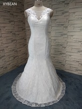 Free Shipping ! 2016 Custom Made size V-neck Court Train  lace mermaid Back up white ivory Wedding Dresses