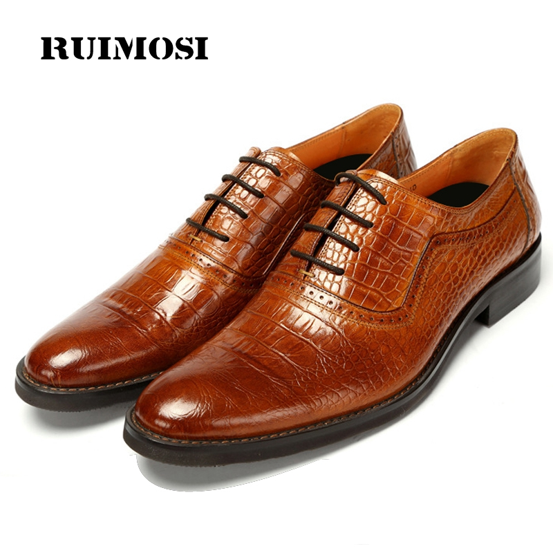 RUIMOSI Top Quality Vintage Brand Man Brogue Shoes Genuine Leather Cow Oxfords Round Toe Lace up Men's Crocodile Flats AS30