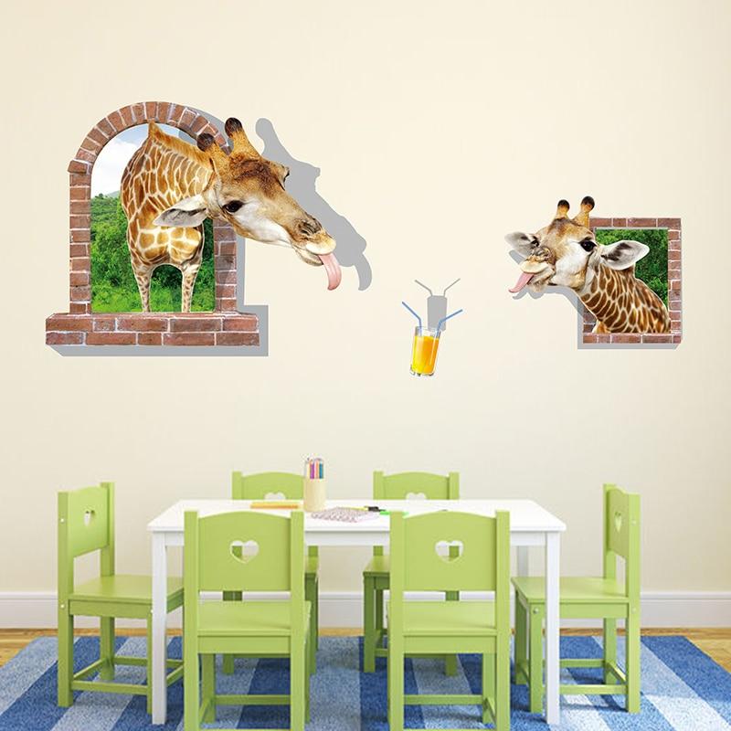 ᓂshijuehezi Pić Sok 3d Naklejki ścienne Zwierząt żyrafa Plakat