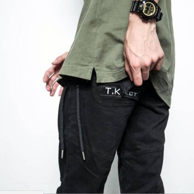 ultima selezione nuove foto dove comprare TKPA 2018 Cintura Pantaloni Uomo Nero Piedi Pantaloni Cargo Lato Del  Tessuto Spliced Uomo Pantaloni Casual Hip Hop Tasca Con Zip Slim Fit ...
