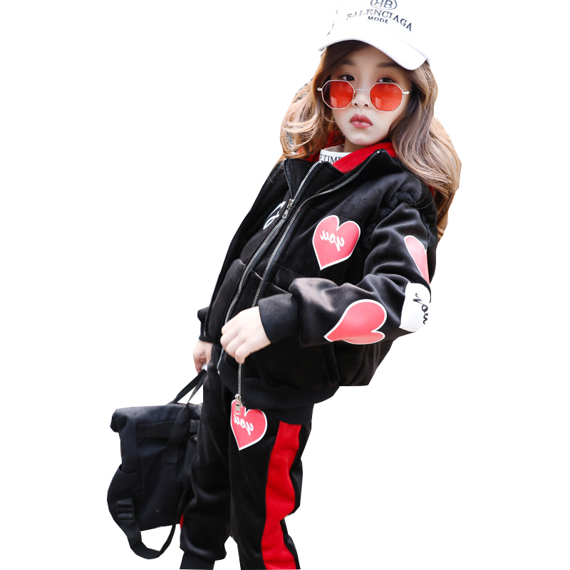 Girls Winter Clothes Children Clothing Sets Kids Sport Suit Heart Print Velvet Thick Warm Girls Clothing set Kids Tracksuit 3pc цены онлайн