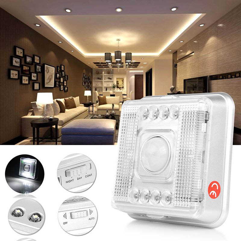 IKVVT 1pc Square LED Night Light Motion Sensor Detector 8 LEDs Battery Power Lamp ...