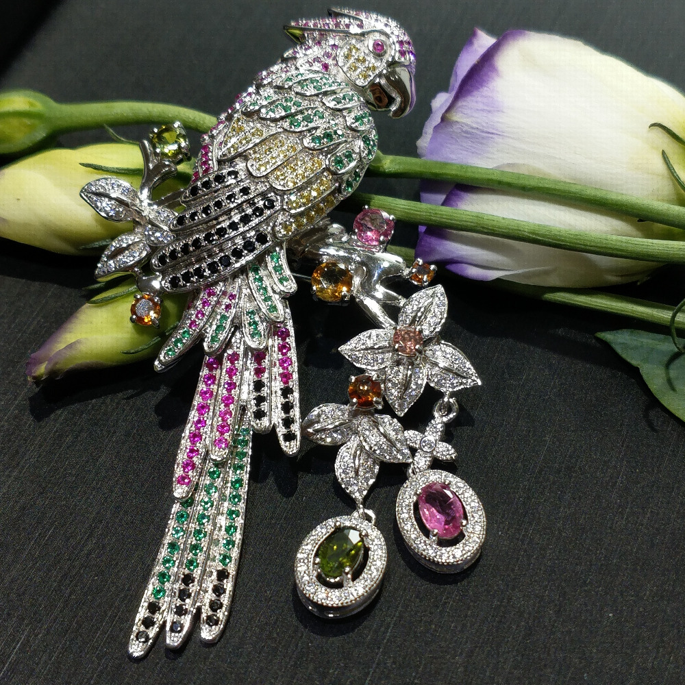 FLZB Lucky animal big brooch wedding jewelry 925 sterling silver with natural tourmaline colorful bird brooch