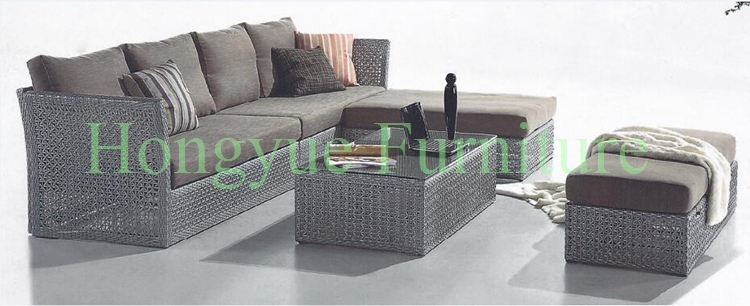 Outdoor wicker sofa set furniture with cushions