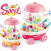 luxury 30 pcs Children s home simulation Mini Rotary light music candy cart ice cream trolley toy discount