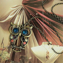 Owl Necklace Statement Necklace Necklace and Pendant Vintage Inlay crystal Openwork Female Elegant Necklace(China)