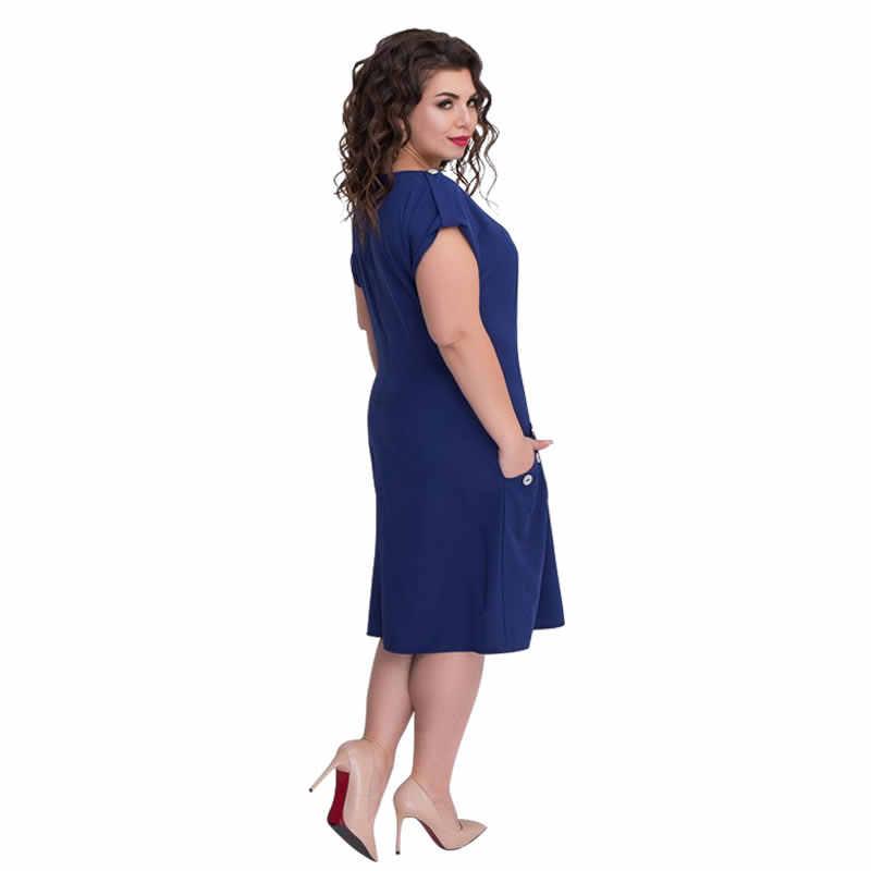 cb5c12bfb7300 2018 5XL 6XL Big Size Dress Summer Beach Dress Women Loose Midi Dress Short  Sleeve Casual Dress Plus Size Women Clothing Vestido