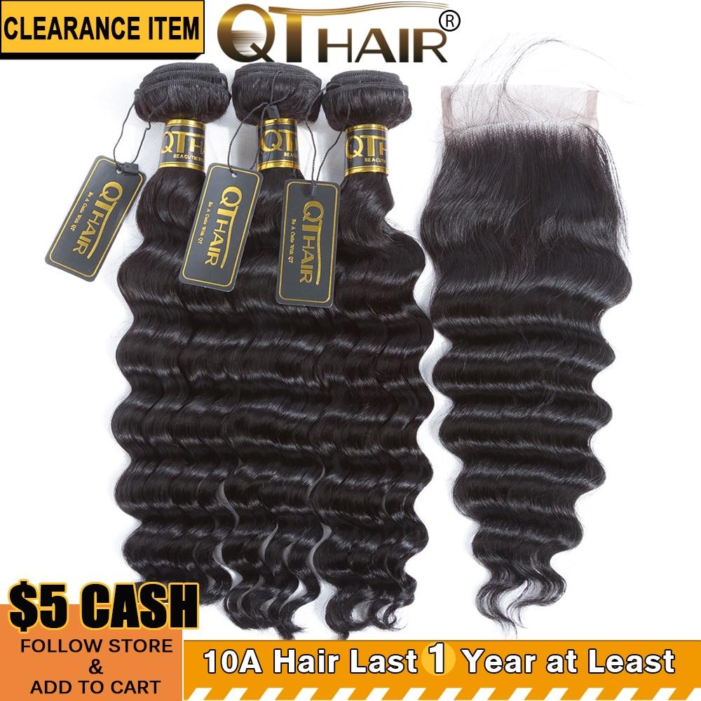 QT Hair Loose Deep Wave Bundles With Closure Brazilian Human Hair Weave 3 Bundles With Closure