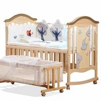 Твердая Древесина Многофункциональный Детская кровать новорожденного колыбель кровать без роспись детская кроватка с BB кровать Изменяема