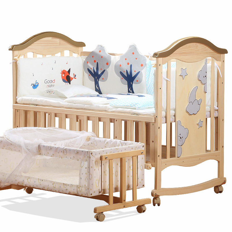 Solid Wood Multifunctional Baby Bed Newborn Cradle Bed No-painted Children Crib Splicing BB Bed Changable Desk Pine Baby Cot
