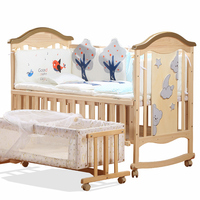 Solid Wood Multifunctional Baby Bed Newborn Cradle Bed No painted Children Crib Splicing BB Bed Changable Desk Pine Baby Cot