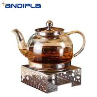 Creative Square Stainless Steel Teapot Trivets Candle Heating Holder Coffee Milk Warmer Base Flower Teapot Warm Stove Tea Warmer