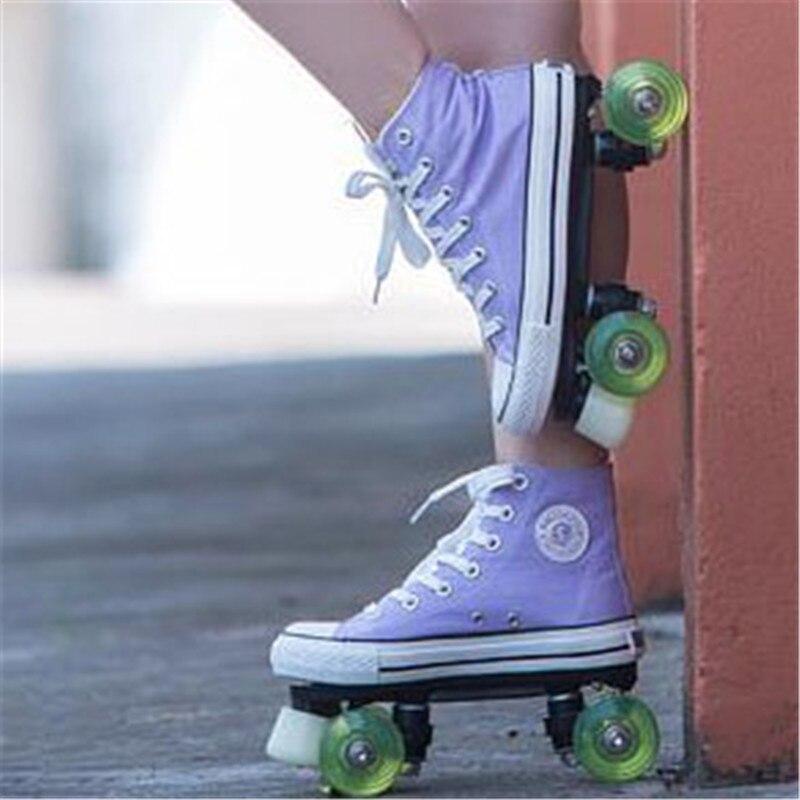 Professionnel Enfants Double Rangée Patins à roulettes Chaussures de Toile Solide Enfants Deux Ligne Clignotant Roues Patines En Linea Coloré IB08