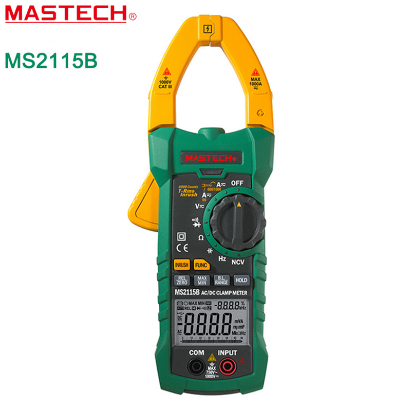 MASTECH MS2115B True RMS Digital Clamp Meter Multimeter 6000 Counts DC AC Current Voltage Ohm Frequency Tester with USB mastech ms2138 ac dc digital clamp meter 1000a multimeter electrical current 4000 counts voltage tester