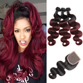 3 Bundles Ombre Hair Extensions with Closure Peruvian Virgin Hair Body Wave with Closure 1b/99J Burgundy Ombre Hair with Closure