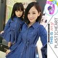 Moda familia 2016 ropa para la madre y la hija de mezclilla vestido de una sola pieza infantil de manga larga prendas de vestir exteriores delgada princesa vestido