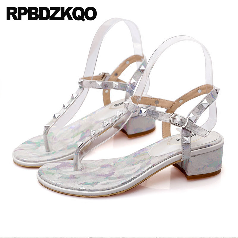 42c44099294 Low Heel Women Big Size T Strap Sandals Flower Rock Stud Shoes Thong Silver  Chunky Pumps Rivet Floral Print High Quality Luxury