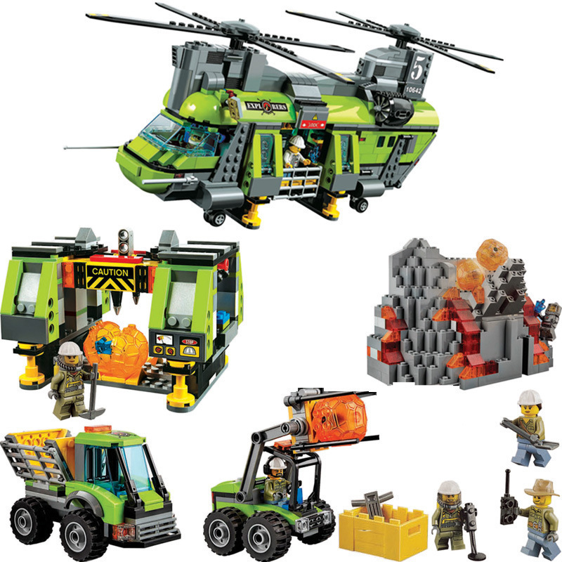 Bela 10642 City Series Volcano Supply Helicopter Geological Prospect Building Blocks Bricks Toys Children Gift Compatible 60125 lepin 02012 city deepwater exploration vessel 60095 building blocks policeman toys children compatible with lego gift kid sets