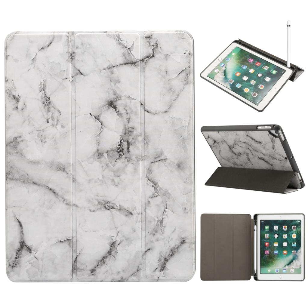 For I Pad 9.7 (2018)With Pencil Slot 9.7 (2017)/Pro 9.7 (2016)//Air 2 Marble Pattern Tri-Fold Stand Smart Leather Case