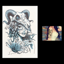 1 Sheet Unscented Beauty Fan Sheep Angle Peri Flower Arm Leg Back Tatoo HB014 Women Men Body Art Temporary Tattoo Sticker Design