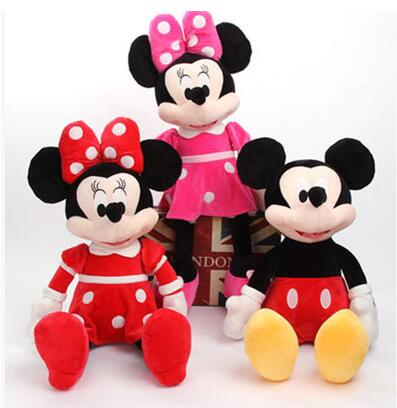 High Quality  Cute Mickey Or Minnie Mouse Plush Toy Doll For Birthday Christmas Gift 1pcs/lot 30cm 40cm 60cm 75cm Four Size