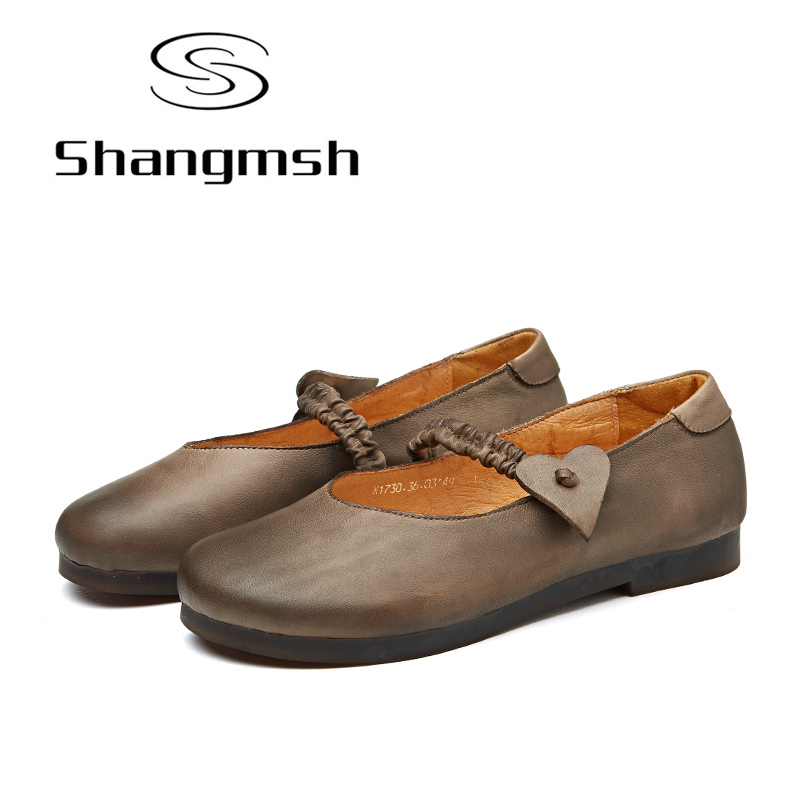Shangmsh Genuine Leather Shoe Women Handmade Heart Flats Female Casual Shoes Summer Superstar Shoes Solid Fashion Moccasins 2017 new handmade women flats genuine leather oxfords shoes woman fashion ballets flats casual moccasins for women sapatos mujer
