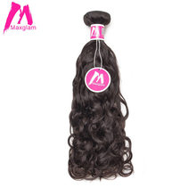 Maxglam Natural Wave Indian Virgin Hair Natural Color Human Hair Weave Bundles Free Shipping(China)