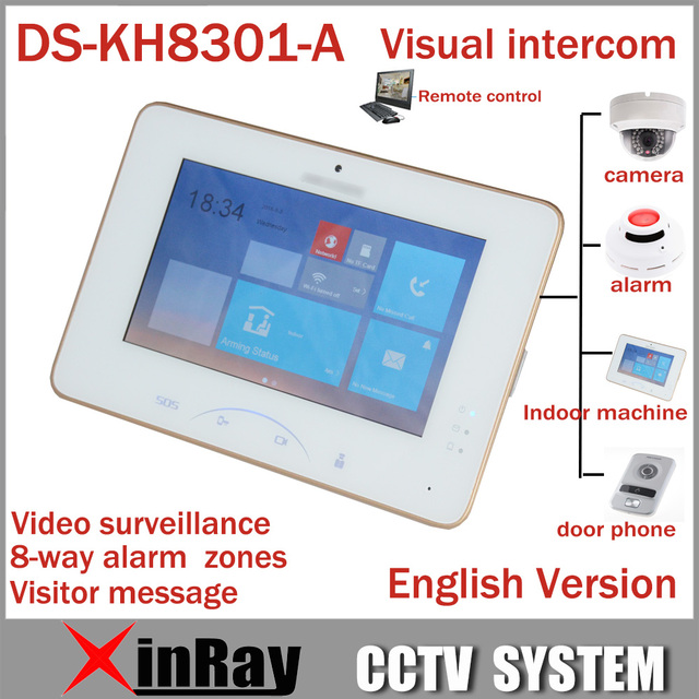 Hik 7''' Color Touch Screen Video Intercom DS-KH8301-A With 8 Access SOS Emergency Indoor Video Mornitor Support IP Camera Alarm