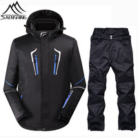 SAENSHING Brand Ski Suit Men Waterproof Ski Jacket Snowboard Pants Outdoor Snowboarding Suits Breathable Warm Winter