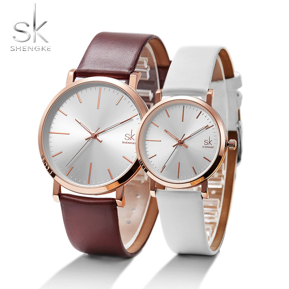 SHENGKE Couple Watches Gift For Lover Leather Strap Quartz Clock Orologio Donna Simple Design White Dial Horloges Vrouwen