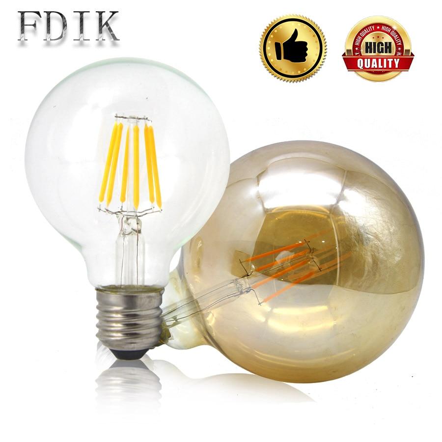 LED Filament lamp G80 G95 G125 E27 Vintage Edison LED bulb Light 2W 4W 6W 8W Big Globe Bulb Tea Transparent glass Warm yellow