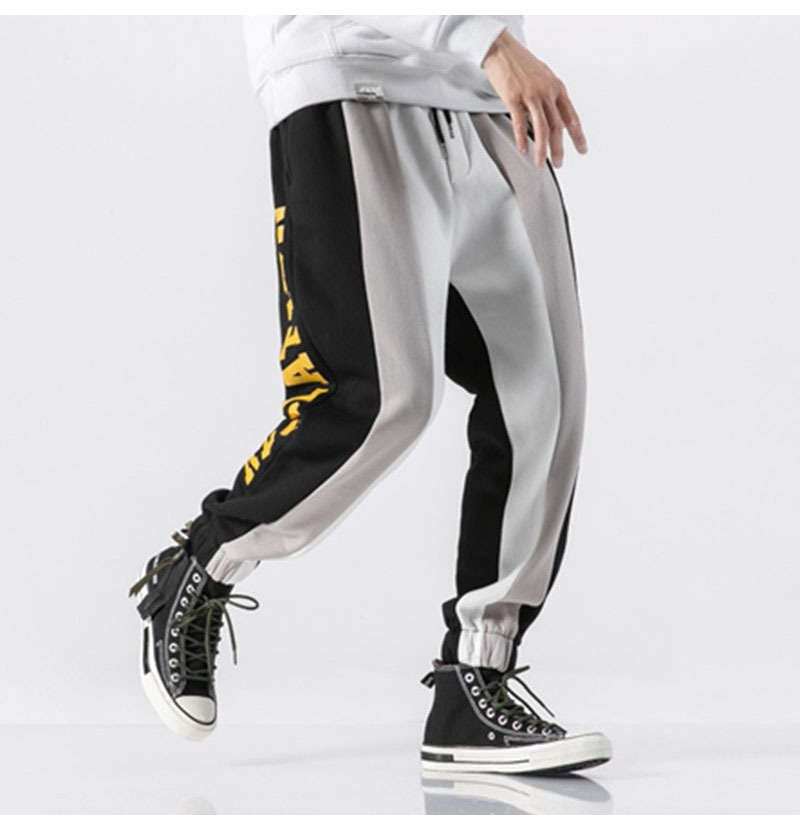Aolamegs Men Casual Track Pants Splice Contrast Pants Men Letter Print Elastic Waist Sweatpants Men High Street Pants Streetwear (13)