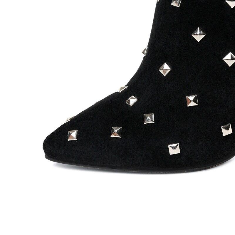 VANKARING donne di marca punk rivetti a cavallo di avvio in microfibra ginocchio in pelle di alta stivali donna tacco alto nero stivali autunno inverno delle donne - 4