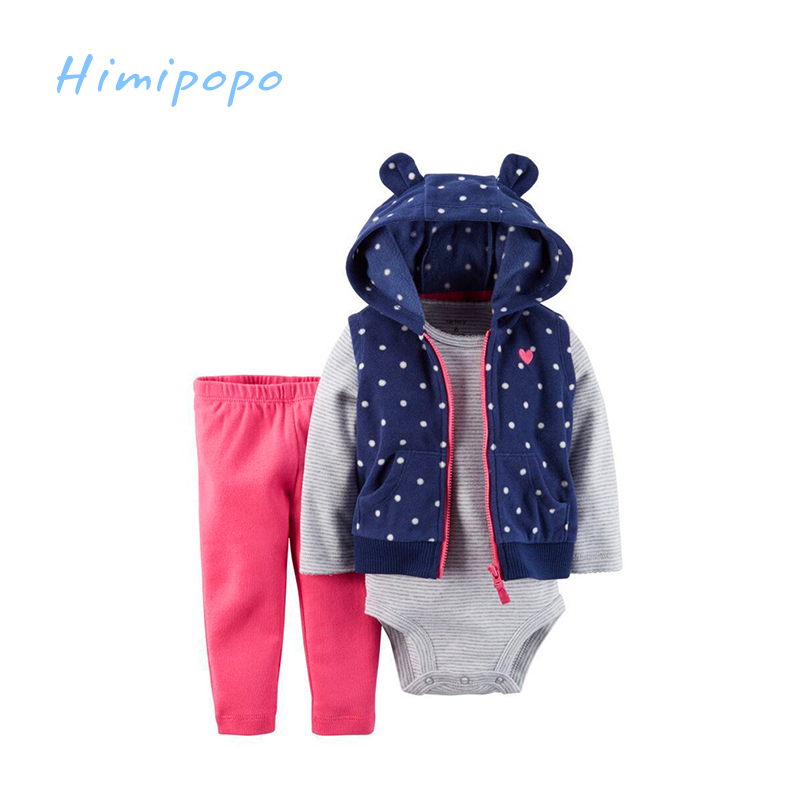 HIMIPOPO Spring and Autumn Baby Clothing Sets 3pcs Baby Coat Boys Girls Cute Cardigan Set Long