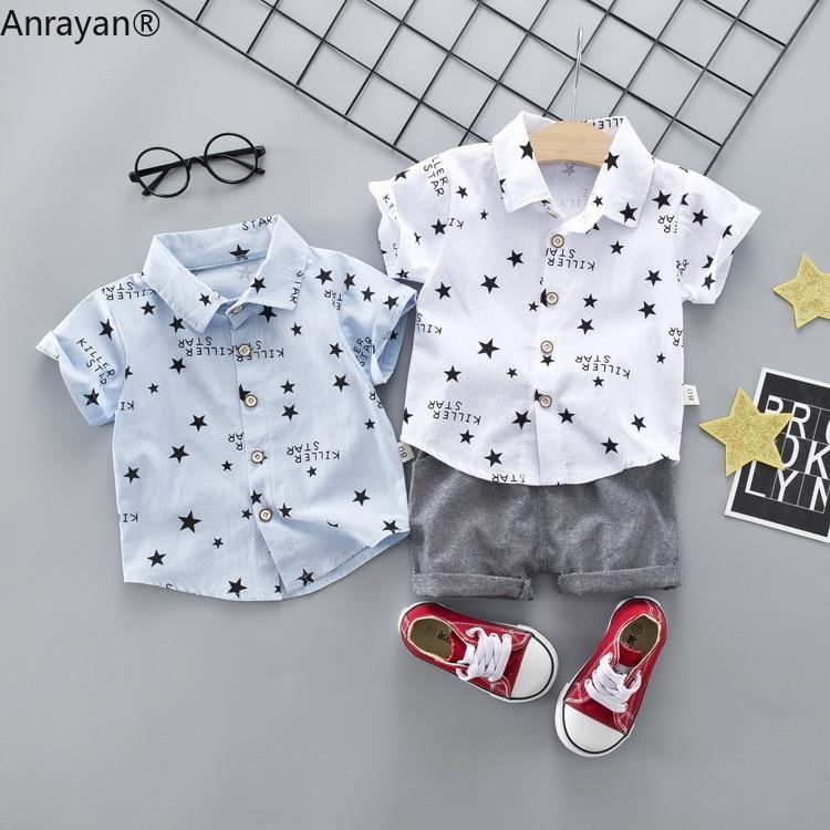 New Summer Baby Boy Casual Clothes Infant Stars Shirt Pants 2Pcs/Set Gentleman Style Kids Lapel Suits Children Fashion Tracksuit