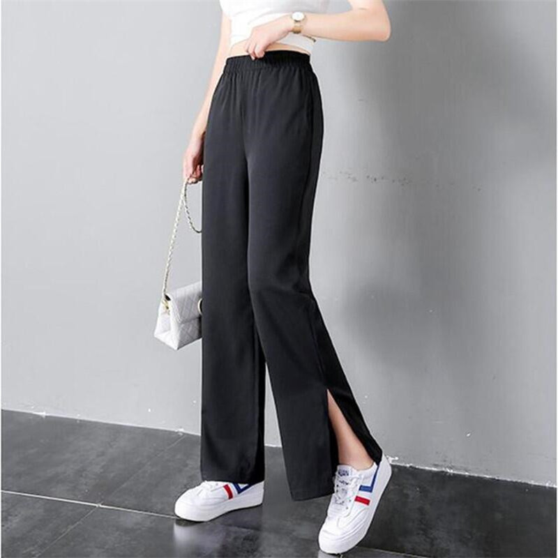 Chiffon women loose straight   pants   summer fashion casual new long   wide     leg     pants   split bottom trousers Large Size 7XL 2019 Black