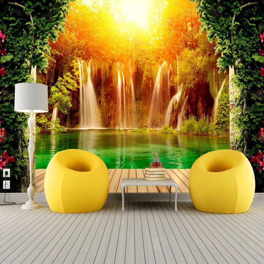 Customized Size 3D Non-woven Photo Wallpaper Waterfall Natural Landscape Background Wall Mural Living Room Bedroom Wall Paper