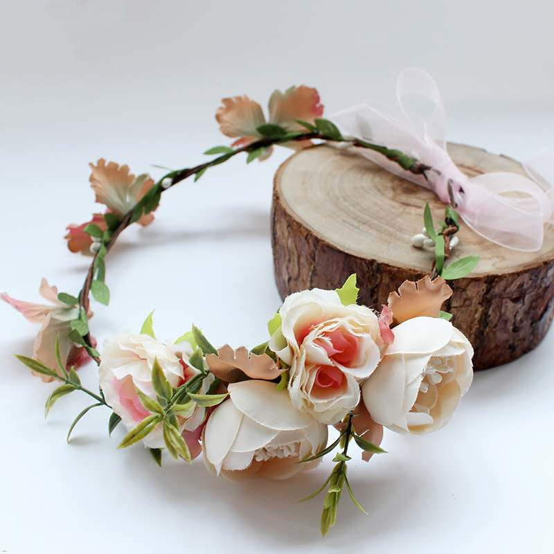 HIYONG Fashion Style Ladies Hairbands Bridal Hair Accessories Floral Headband Baby Women Girl Wreath Party Bride Wedding Beach in Hair Jewelry from Jewelry Accessories